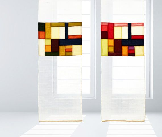 Modernized traditional Korean Fabric art and décor, Jogakbo - Sheer shade/ sheer curtains