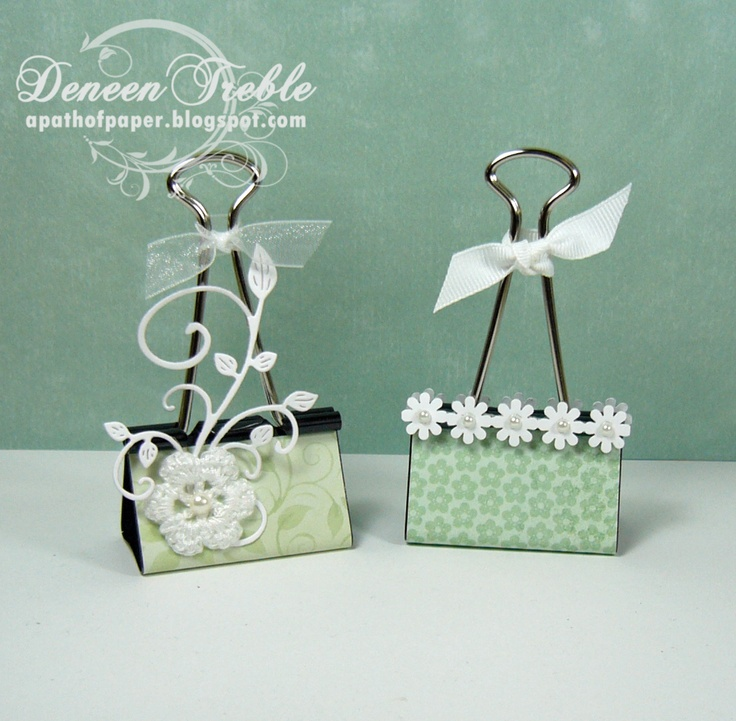 """Cute """"photo holders""""- A Path of Paper: Craft Show Binder Clips"""