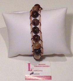 Βραχιόλι με καφέ πέτρες ημιπολύτιμου λίθου αχάτη και δέρμα (Β 2152)