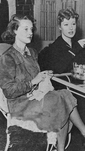 Rare image of Warner Bros. star Bette Davis with MGM star Greer Garson