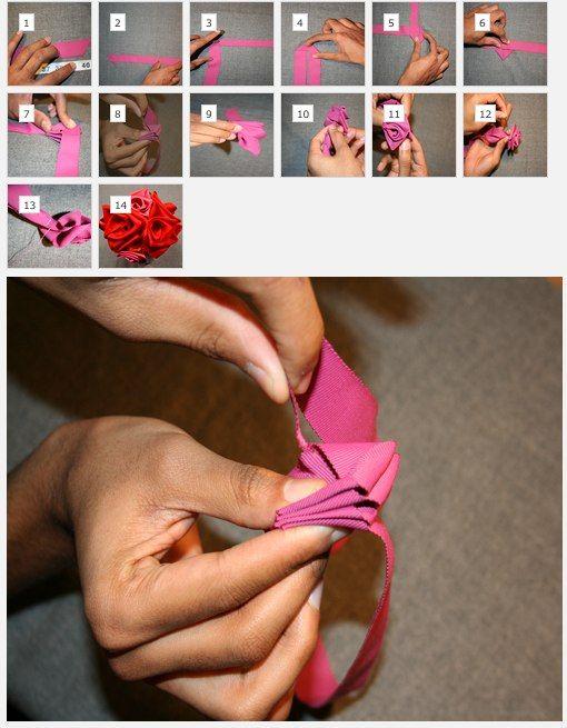 Easy ribbon flowers tutorial