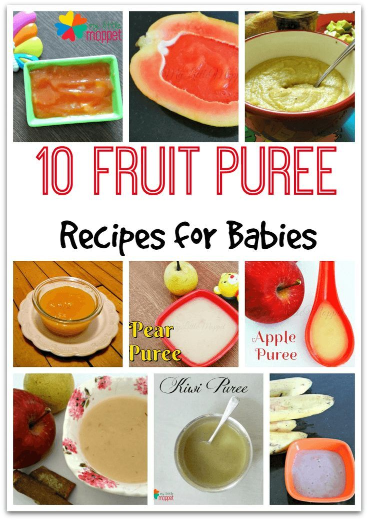 Fruit Purees are a splendid way to introduce your baby to fruits. Here are some 10 fruit puree recipes for babies from 6 months onwards like papaya puree, avocado puree, banana puree, apple puree, pear puree, mango puree, kiwi puree