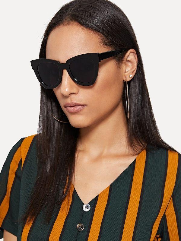 4335e5de4b Shein Flat Lens Sunglasses in 2019   Shein   Sunglasses, Black ...