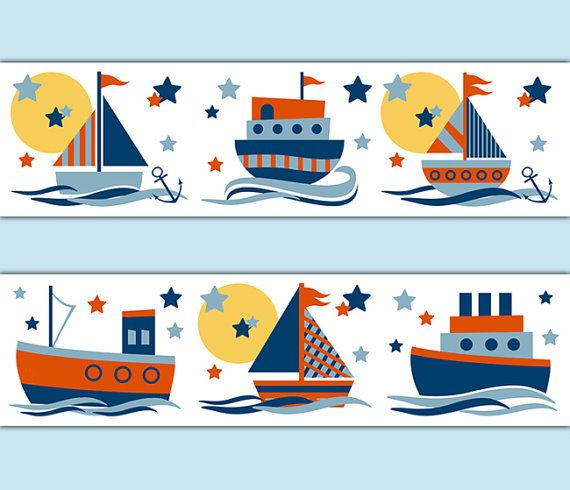 SAILBOAT DECAL STICKERS Wallpaper Border Baby Boy por decampstudios