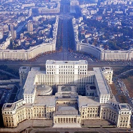 PARLIAMENT PALACE by  ANCA PETRESCU  BUCHAREST, ROMANIA 2005. The modern built palace boasts its neoclassical roots.