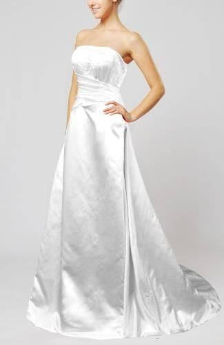 Satin Strapless Bridal Dress - Order Link: http://www.theweddingdresses.com/satin-strapless-bridal-dress-twdn6187.html - Embellishments: Beading , Embroidery , Ruching; Length: Court Train; Fabric: Satin; Waist: Natural - Price: 164.99USD