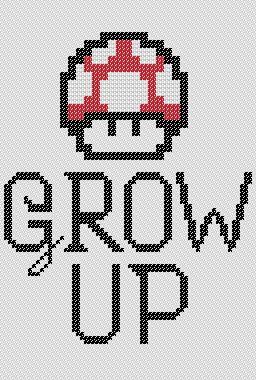 Super Mario Bros. Grow Up Red Mushroom Cross Stitch PATTERN from Kimchi Karachi