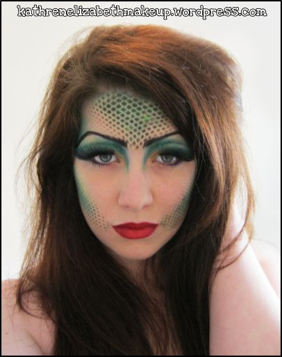 mermaid make up - fishnet over face then spray on makeup or blot with brushes/sponges