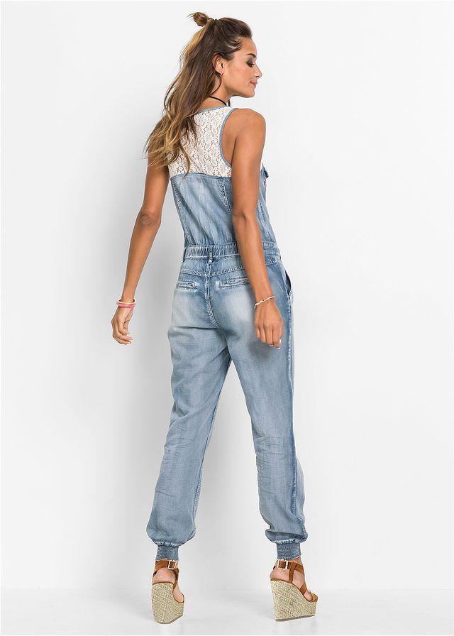 ce6a0e6780 Kombinezon dżinsowy z szydełkową koronką niebieski