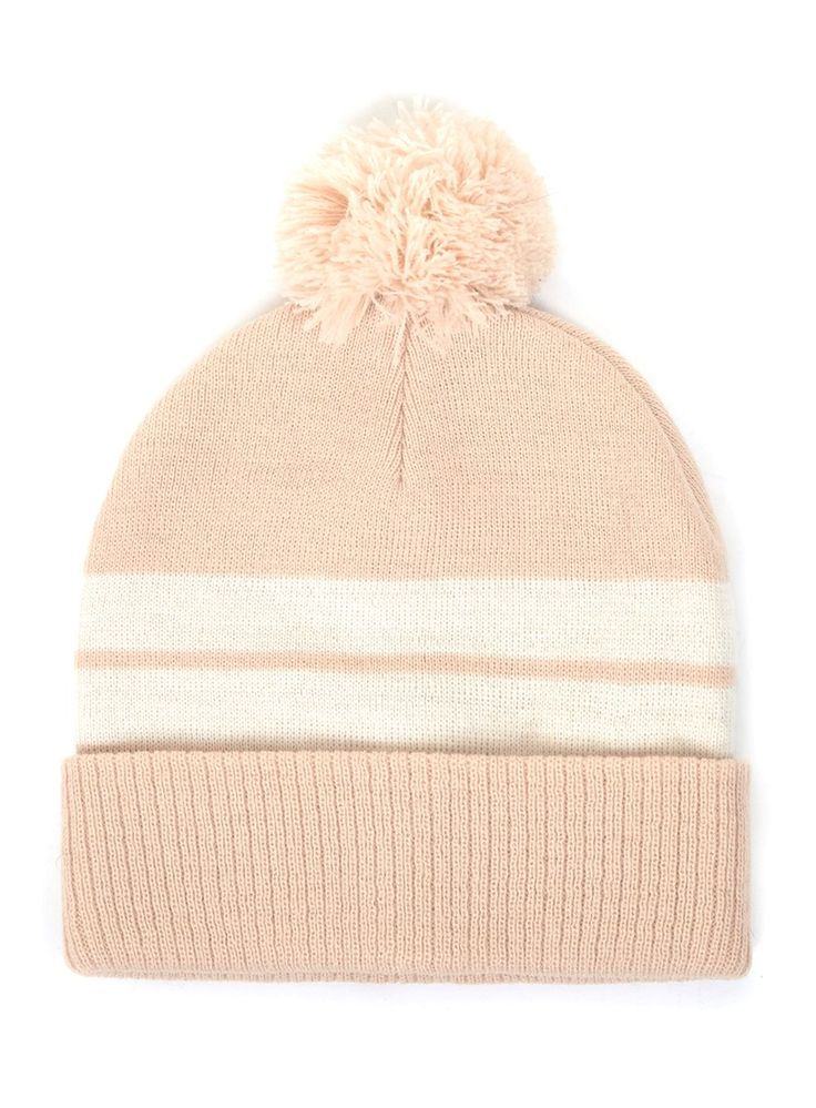 Nude and Cream Stripe Bobble Beanie Hat - New This Week - New In - TOPMAN EUROPE