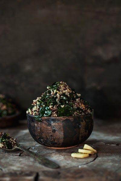 Quinoa con spinaci saltati al limone e zenzero