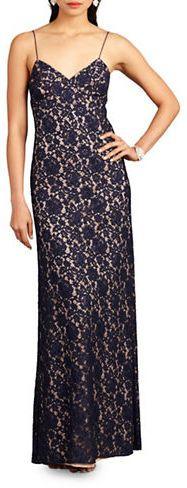 Donna Morgan Gia Spaghetti Strap Lace Gown sale $99