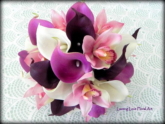 Lavender Real Touch Calla Lily Wedding by LastingLoveFloralArt