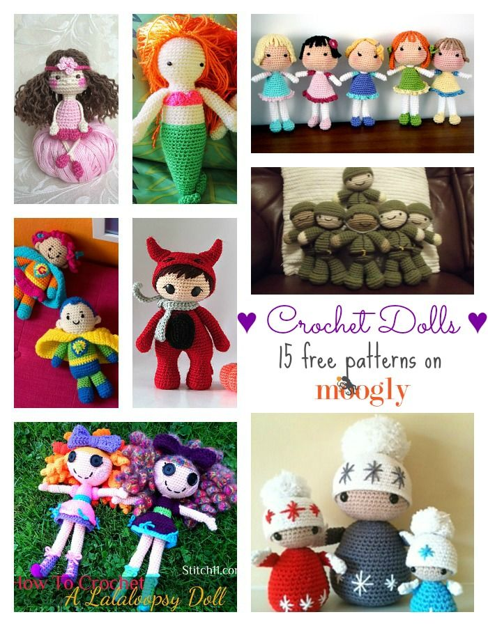 Delightful Dollies: 15 Free Crochet Doll Patterns Read more at http://www.mooglyblog.com/delightful-dollies-15-free-crochet-doll-patterns/#kQeWUgI81zYlrBGC.99