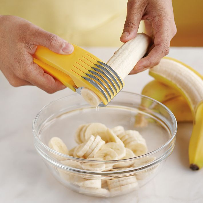 Banana Slicer: This innovative banana slicer quickly creates five thin, uniform banana slices by just a press of handle.