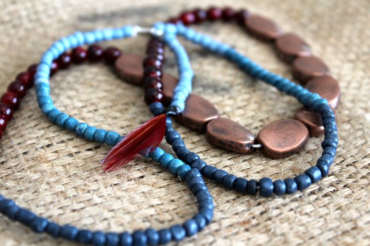 Blue Copper Beaded Necklace by FeatherKnot on Etsy