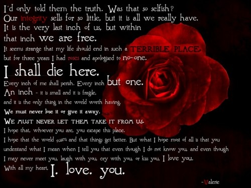 V for Vendetta Quote I love...This letter gets me every time.