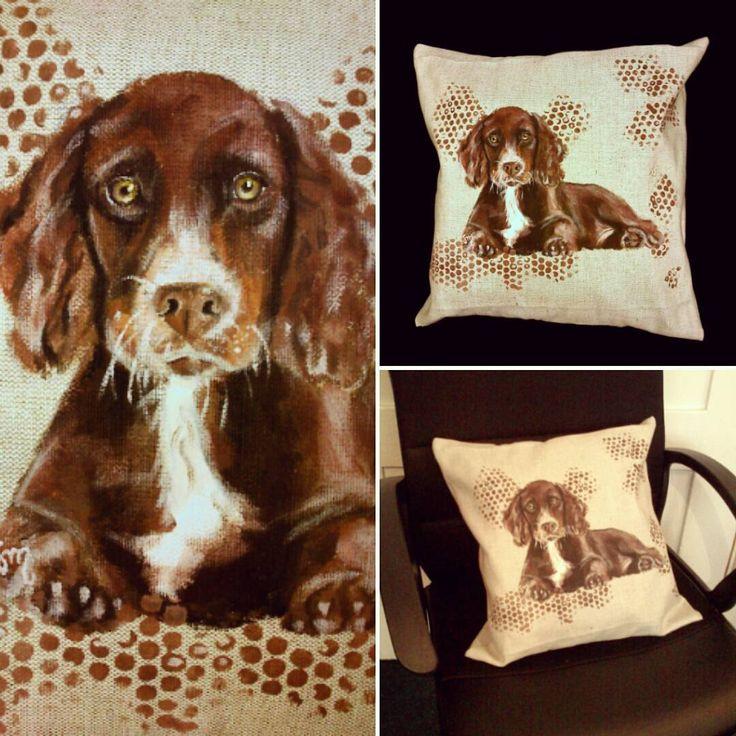 Poduszka Spaniel. Ręcznie malowana i szyta na zamówienie #poduszka z lnu. Poszewka zamykana na suwak. Można ją ręcznie prać :) #pillow #pies #dog #spaniel #painted #sewed #linen #len #art #home #dom #pokój #wystrój #dekoracje #interior #decoration #room #resttime #odpoczynek #eco #natura #fabrics #tkanina #polskilen