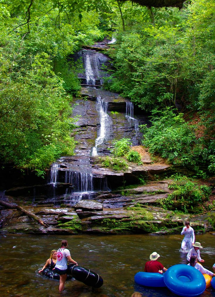 Tubing by Tom Branch Falls on Deep Creek in the Great Smoky Mountains in NC