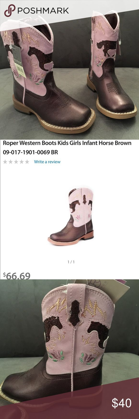 Pink & Brown Roper Infant Cowboy Boot Brand new with tags. Never worn. Size 6 infant. Sold out in stores & online. Reg price $66. Roper Shoes Boots