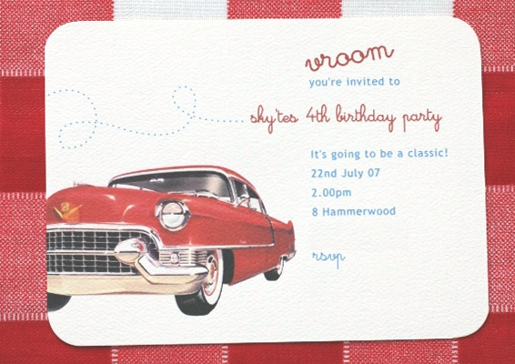 Vintage Car Birthday Invitation From Www Imprintables Com