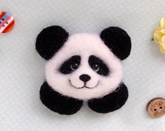 Panda, little brooch, needle felted, OOAK, artist bear, white black, wool toy
