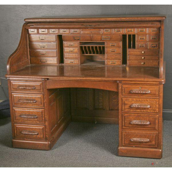 exceptional oversize quarter oak u0027su0027 roll top desk fully paneled exterior decorative - Rolltop Desk