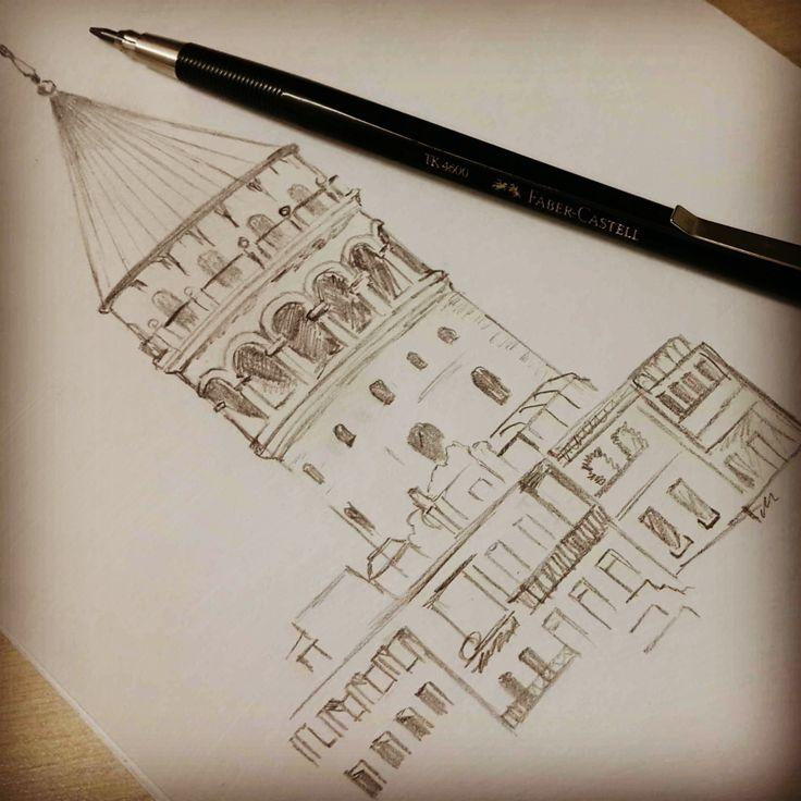 Galata, karakalem çizim