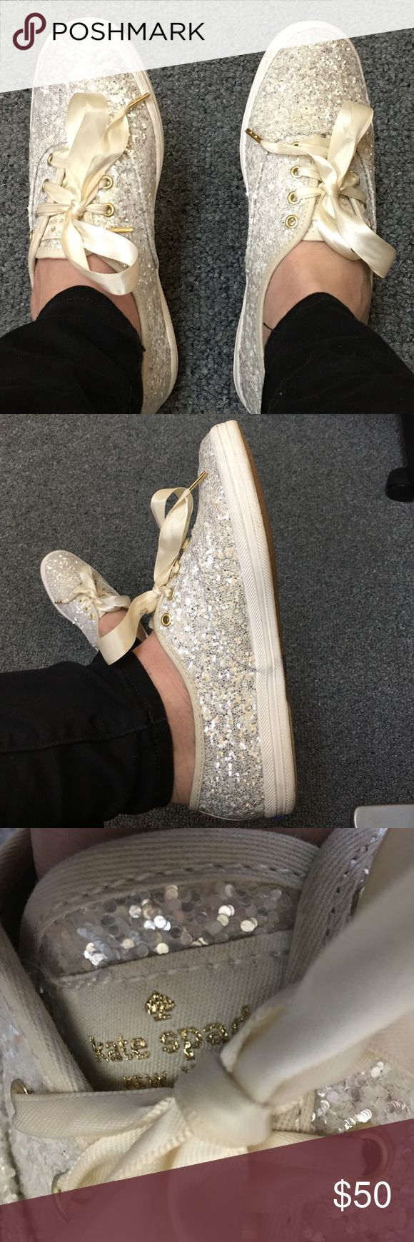 Kate Spade Glitter Keds sneakers I wore these beautiful Kate Spade glitter Keds on my wedding day and was dancing in comfort all night. These are super comfortable sneakers, have only been worn a few times and would be a great addition to any wardrobe! Keds Shoes Sneakers
