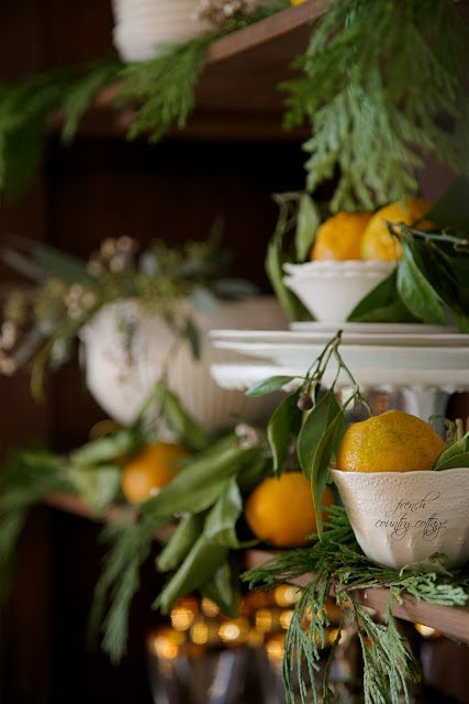 FRENCH COUNTRY COTTAGE: Simple Christmas ~ Using fresh fruit in holiday vignettes