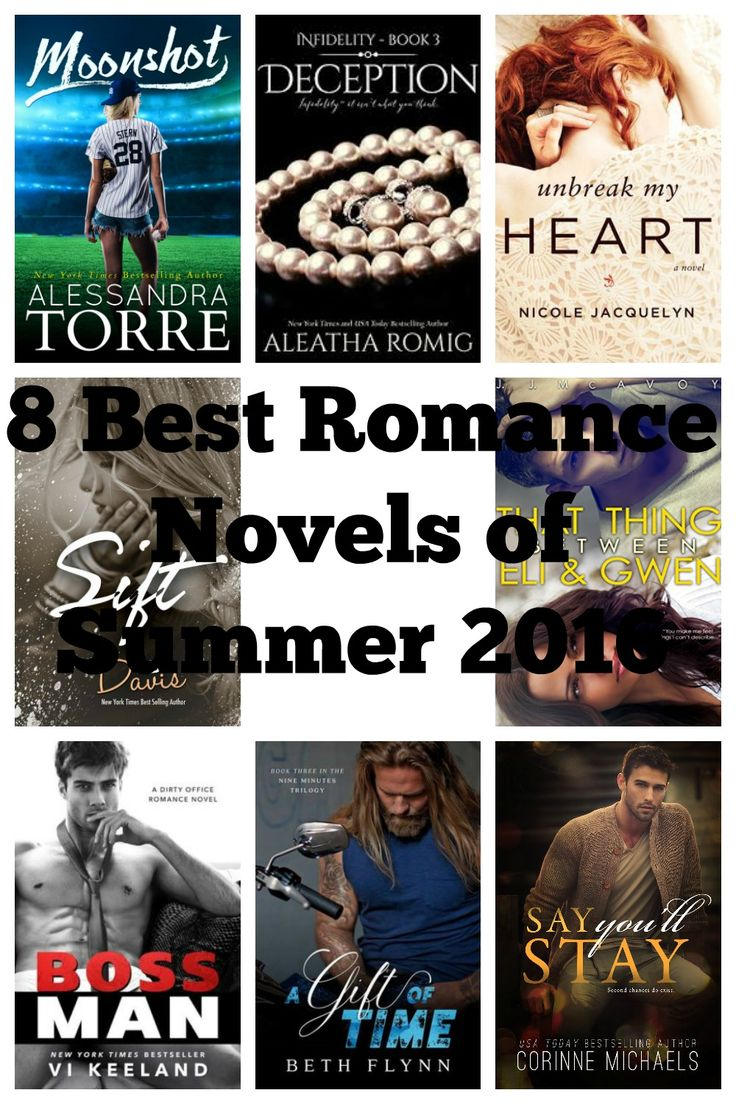 The absolute must read romance novels of Summer 2016. Moonshot by Alessandra Torre. Deception by Aleatha Romig. Unbreak My Heart by Nicole Jacquelyn. Sift by L.D. Davis. Boss Man by Vi Keeland. A Gift of Time by Beth Flynn. Say You'll Stay by Corinne Michaels. That Thing Between Eli and Gwen by J.J. McAvoy.