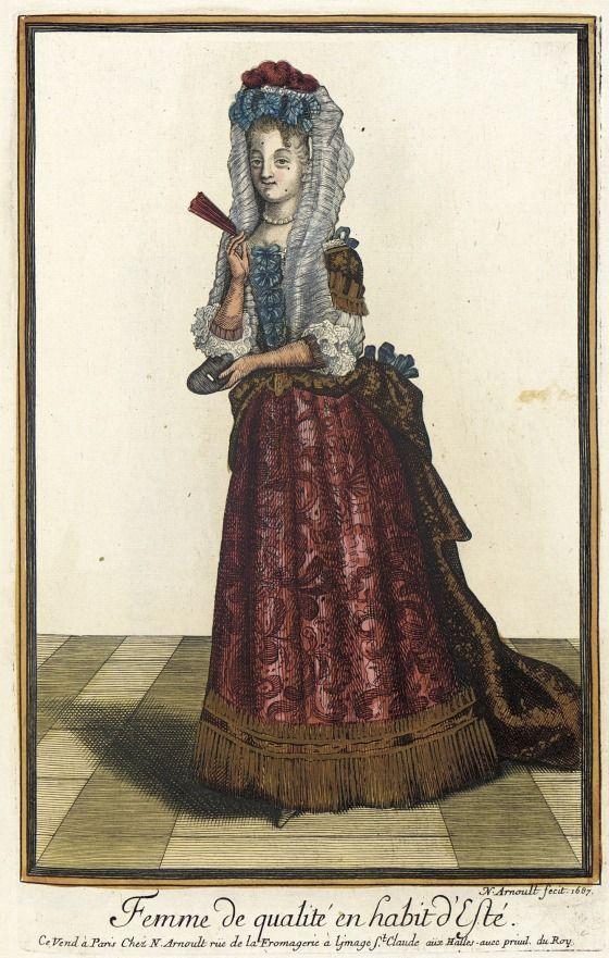 Recueil des modes de la cour de France, 'Femme de Qualité en Habit d'Esté' 1687   LACMA Collections