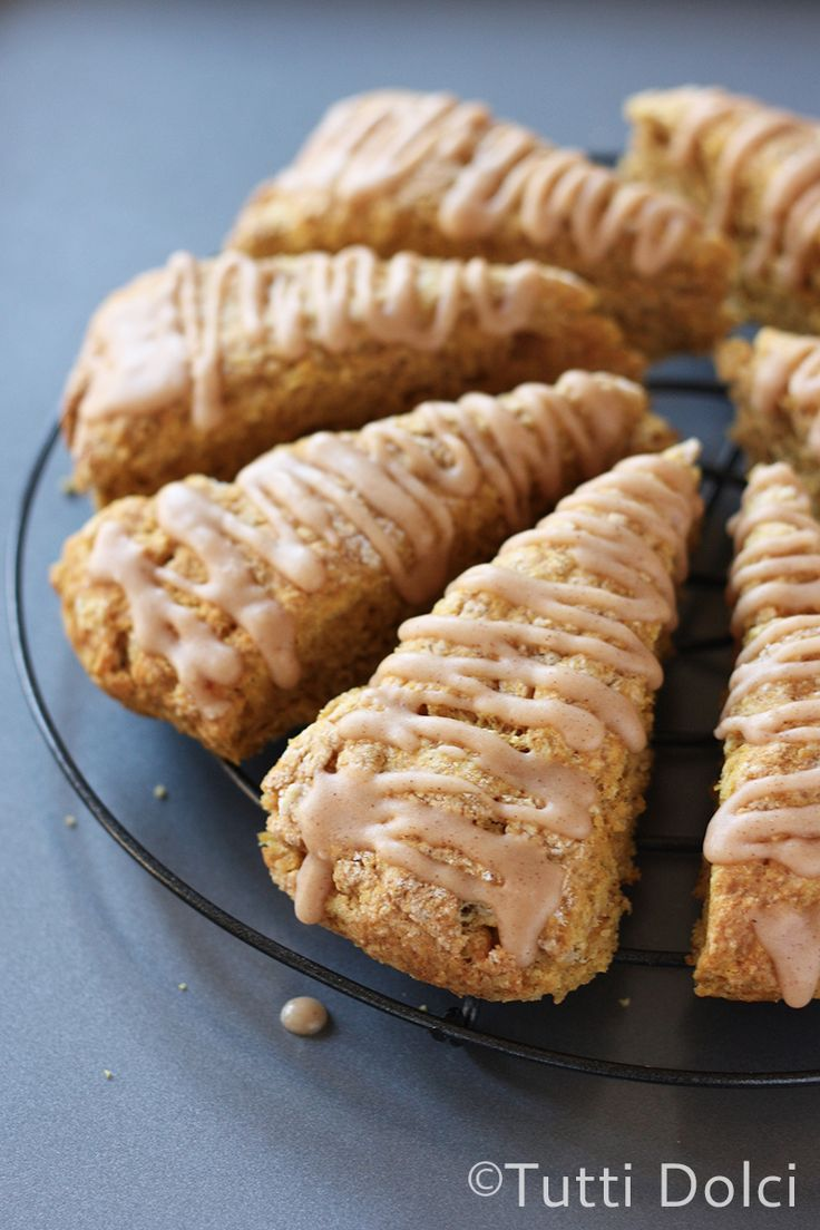Pumpkin Spice Scones - tender and flaky pumpkin scones drizzled with cinnamon and vanilla glaze
