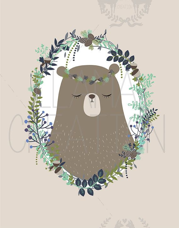 Bear nursery art Instant Download 11x14 Woodland