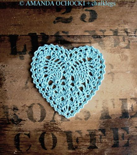 Crochet hearts round up. Free patterns. Blue Valentine by chalklegs on Ravelry