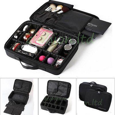"16"" Cosmetic Bag Makeup Brush Case Storage Toiletry Organizer Artist Travel Box"