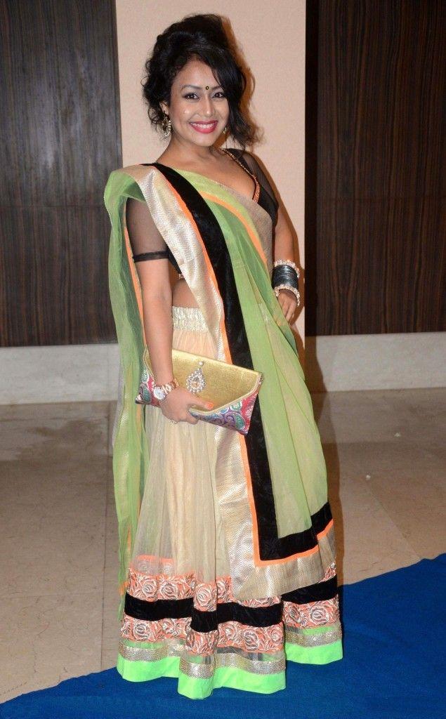 Neha Kakkar In Beige Lehenga Choli Neha Kakkar Style Saree Raw Silk Net Saree Double Color Saree Party Wear S Neha Kakkar Dresses Lehenga Choli Saree Designs