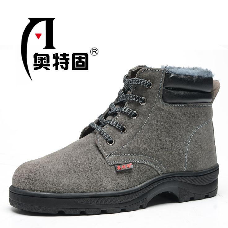 fashion genuine leather steel toe cap work safety ankle boots men large size fur spring autumn winter snow shoes zapatos hombre