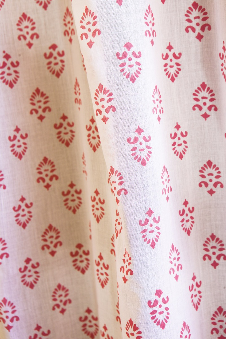 Girls Curtains - Girls Pink Bedroom Curtains - Hand Block Printed from Attiser