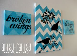 My <em class=short_underline> chevron canvas </em> was feeling a little lonely up on my wall, so I decided to make some additional pieces that matched, but could stand on their own. The words are lyrics to the Beatles song, Blackbird. I kind of felt it fit perfectly with the original chevron canvas considering there are 2 blackbirds on it... and I love the Beatles!!  Growing up, my sister was obsessed with the Beatles. And s...
