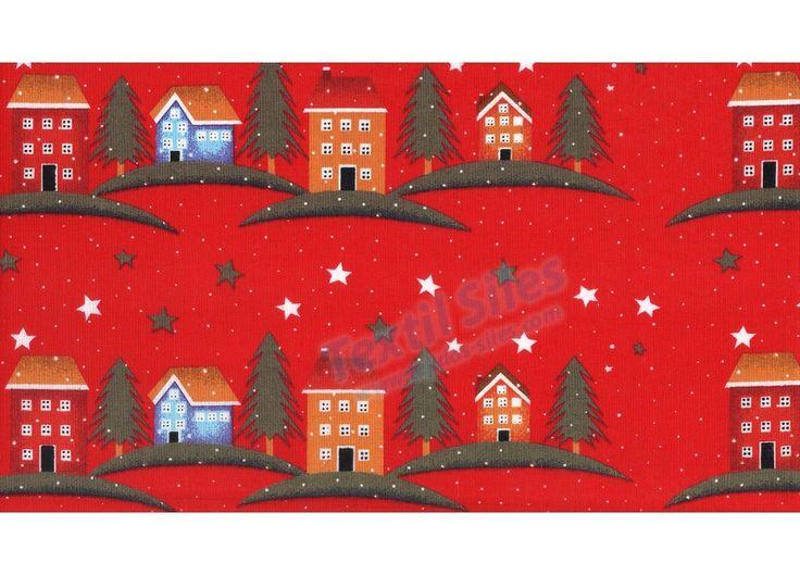 Patchwork Navidad Casitas Rojo
