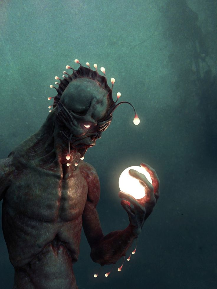 """Bubble of Consciousness""  A really cool angler fish/merman thing. I love it!"