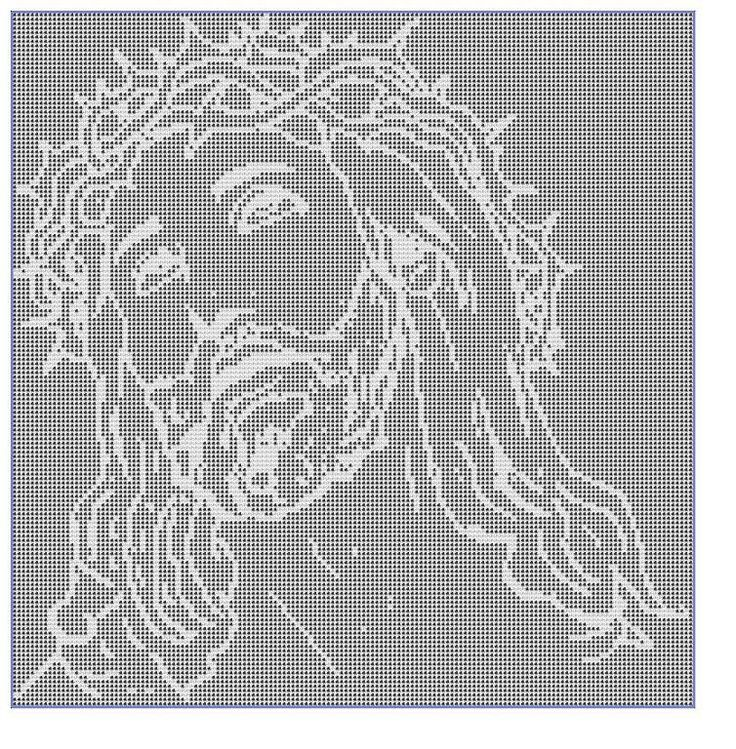 Crocheting: Filet Crochet CHART-Jesus