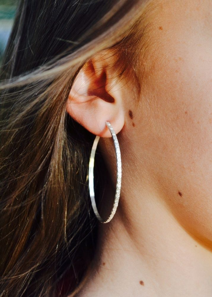 Embossed rose Sterling Silver hoop earrings are gorgeous to wear both day & night. XO