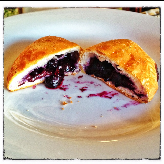 Blueberry Hand Pies; Pillsbury Grands refrigerated biscuits rolled out to 6 inches. Fill with fresh blueberries and a tablespoon of sugar. Wet edge with water and fold over. Use a fork to crimp edge. Brush with egg whites and sprinkle with more sugar. Bake for 15 mins in 400 degree oven.