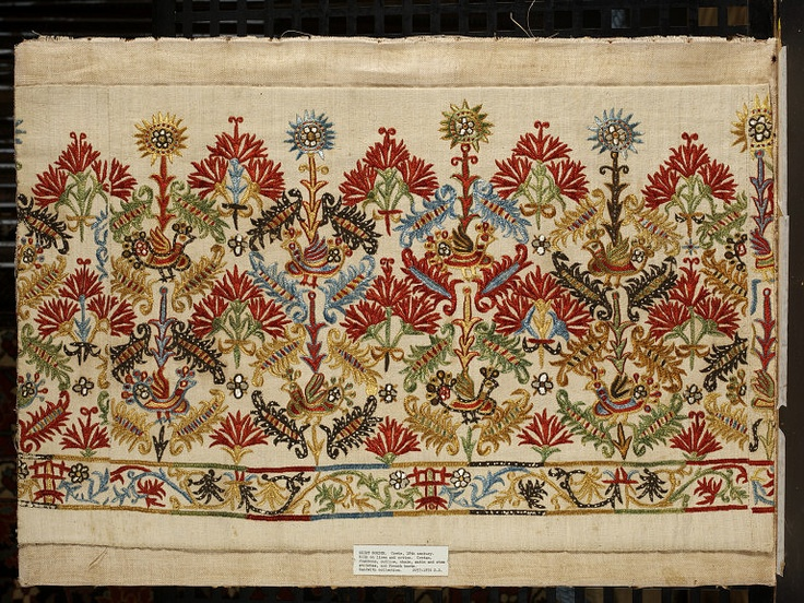 1700-1800 Crete Greece, linen and cotton embroidered with silk Victoria Albert Museum