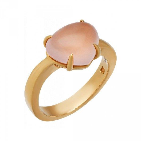 Bvlgari Yellow Gold Pink Quartz Ring An856026 Brilliance