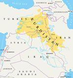 Kurdistan, Kurdish lands political map. Cultural region wherein Kurdish people form a prominent majority. Greater Kurdistan includes parts of Turkey, Syria, Iraq, Iran and Armenia. English labeling.