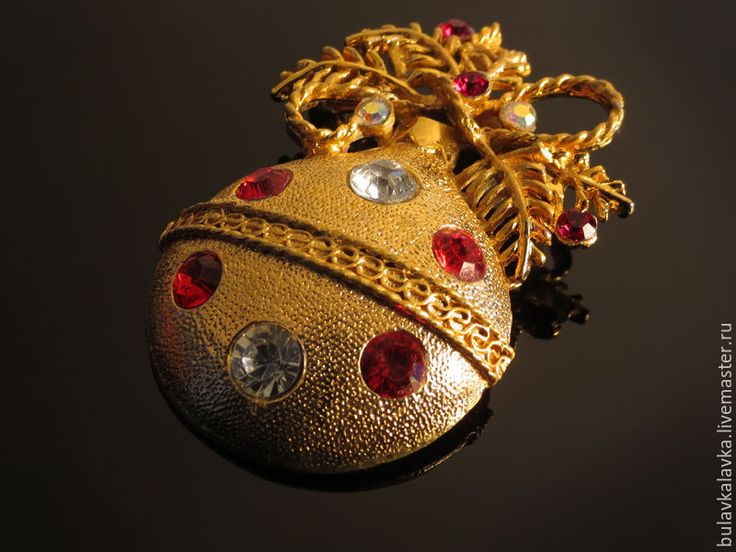 Купить Винтажная брошь Ёлочная игрушка Новогодний шар - винтажная брошь, винтажное украшение