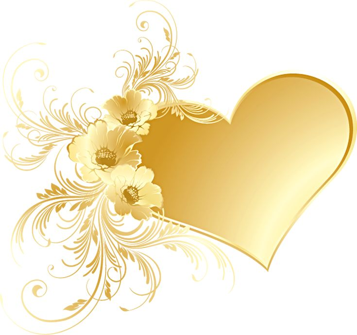 Gold Heart With Flowers PNG Picture